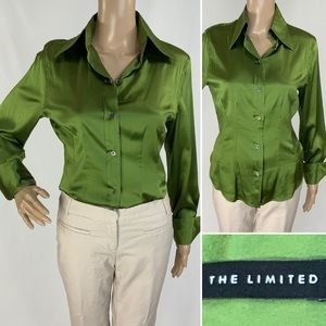 THE LIMITED Green stretchy silk blouse French cuff